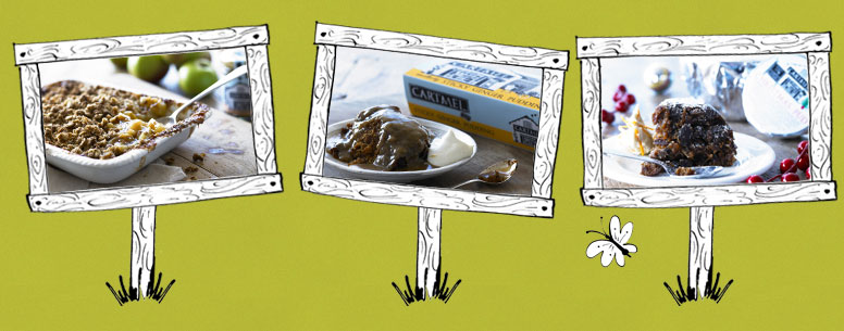 Three signs showing photos of our puddings